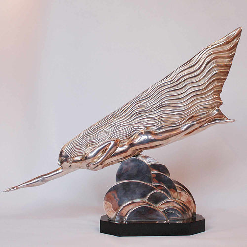Maurice Guiraud Riviere The Comet, an Art Deco silvered bronze sculpture