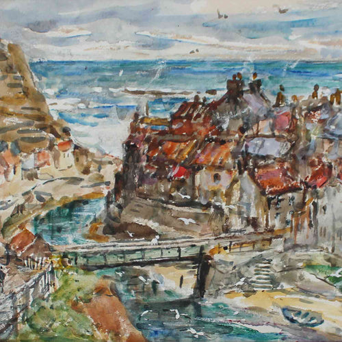 Rowland Henry Hill Staithes watercolour painting dated 1943