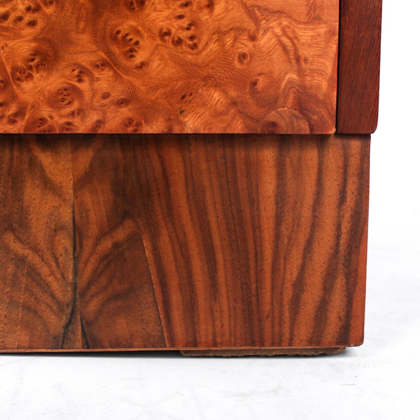 Art Deco, burr walnut chest of drawers. Original wooden handles. H.G Furniture sticker at Jeroen Markies.