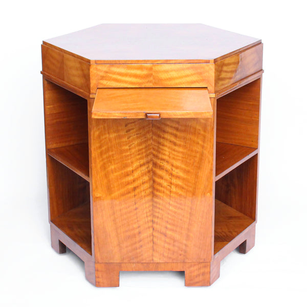 Art Deco, Satin Wood Veneer Hexagonal Library Table.