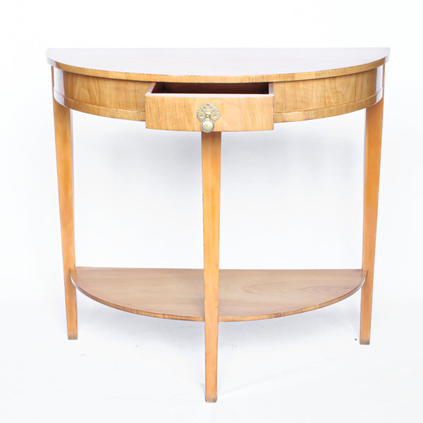 Walnut Demi-Lune Console Table