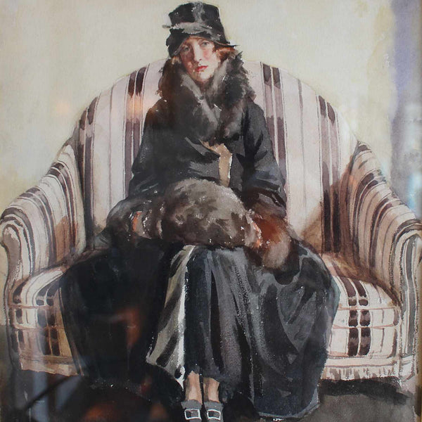 K Meyer Lady in Fur a 1920s Art Deco watercolour at Jeroen Markies