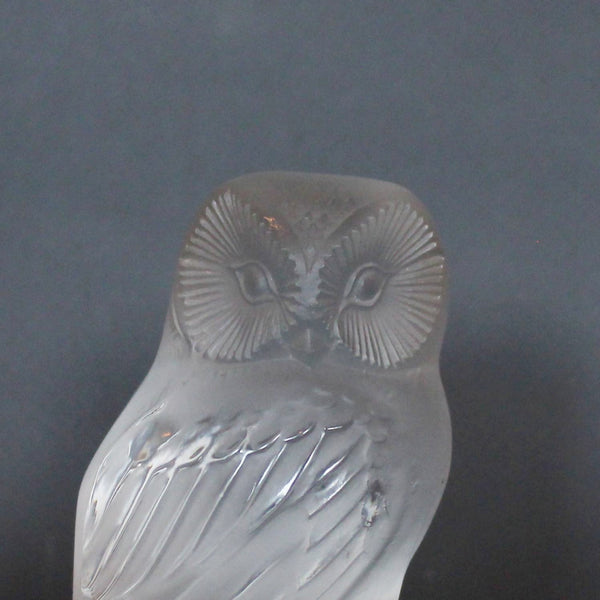 Art Deco Lalique Chouette, a glass owl paperweight at Jeroen Markies