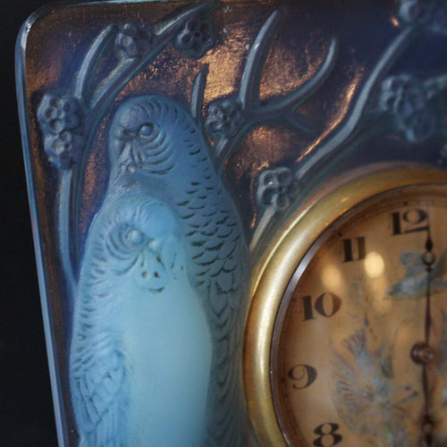 Art Deco Rene Lalique Inseparables clock with hand painted face at Jeroen Markies