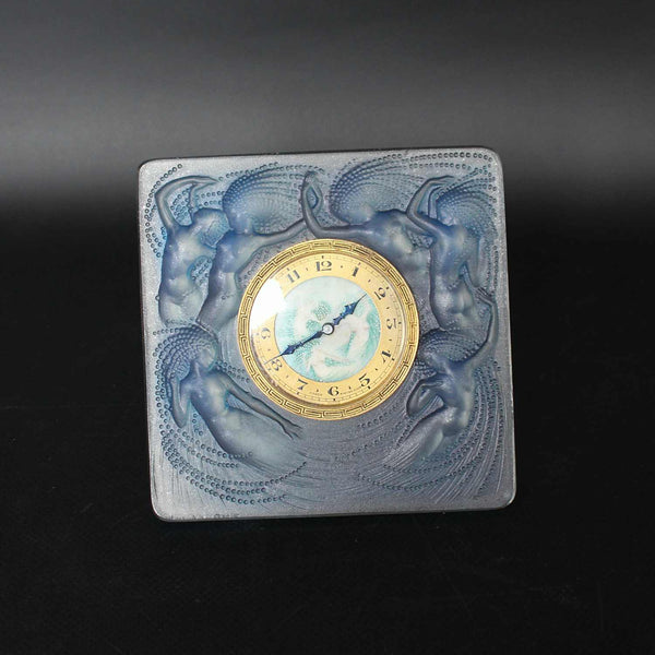 Art Deco opalescent glass Naiades clock by Lalique at Jeroen Markies