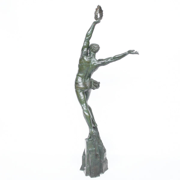 Pierre Le Faguays Art Deco sculpture of an Olympian athlete at Jeroen Markies