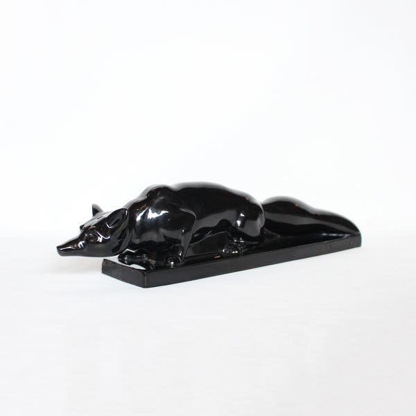 Charles LeManceau Art Deco black glazed ceramic fox at Jeroen Markies