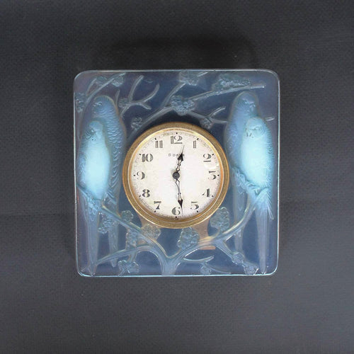 Rene Lalique Art deco Inseparables clock at Jeroen Markies