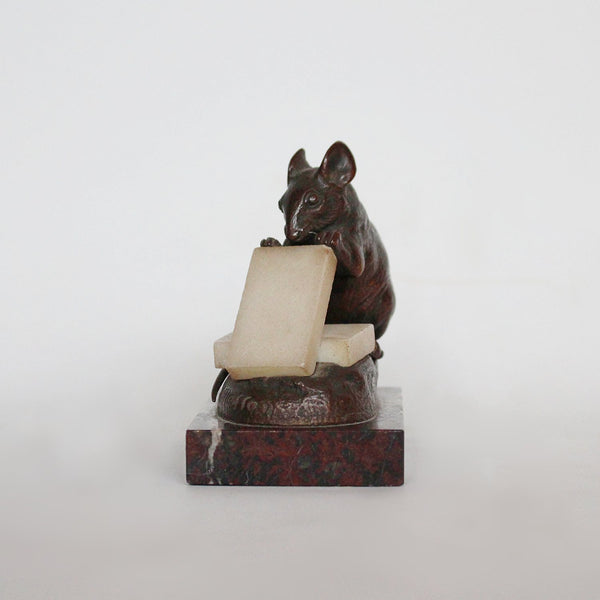 Clovis Masson bronze mouse nibbling alabaster cheese circa 1890