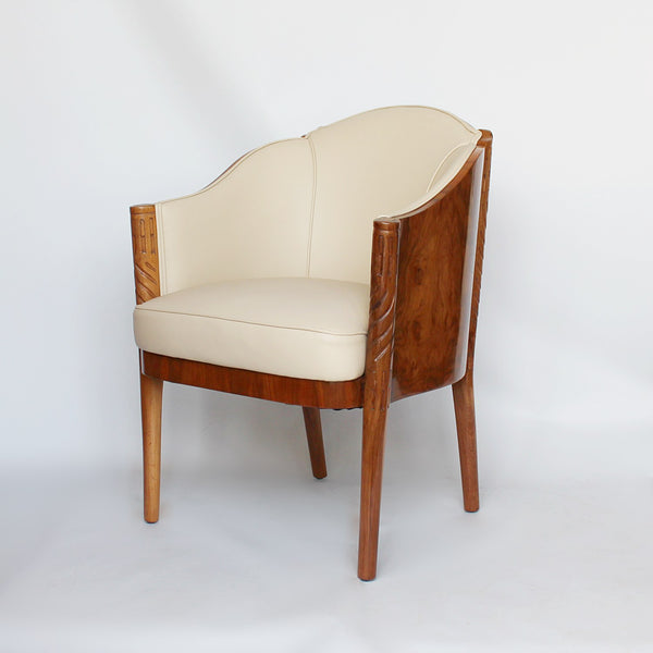Maurice Adams Art deco armchairs with solid walnut legs circa 1930