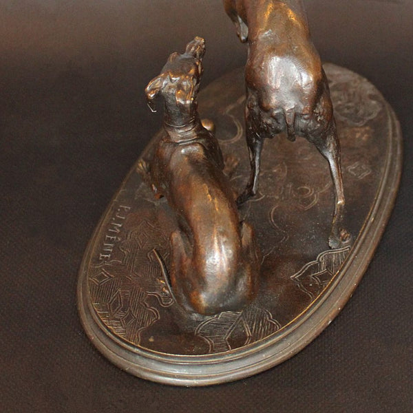 Pierre-Jules Mene Jiji and Giselle bronze dogs circa 1860