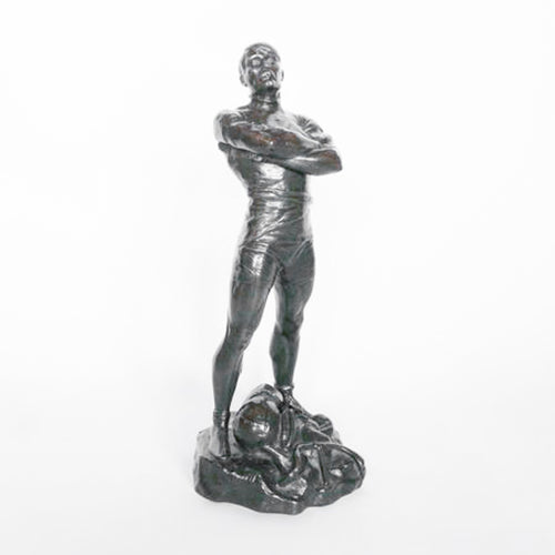 The Champion, an Art Deco, patinated bronze sculpture of an athlete posing proudly with various sports equipment, set into an integral plinth. Signed Signed P. Moreau-Vauthier at Jeroen Markies