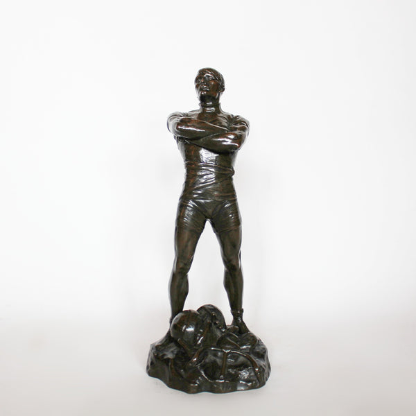 Paul Moreau-Vauthier Bronze Art Deco athlete standing with arms crossed at Jeroen Markies