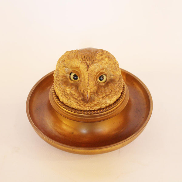 Victorian gilt owl head inkwell with integral tray
