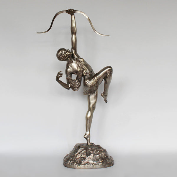 An Art Deco silvered bronze sculpture of Diana by Pierre le Faguays at Jeroen Markies