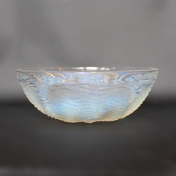 Art Deco Lalique frosted and clear glass Dauphins bowl at Jeroen Markies