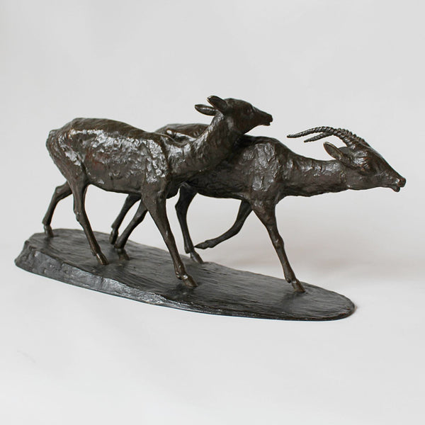 Rochard Art Deco bronze antelope