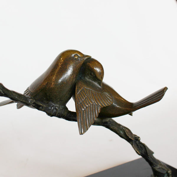 Art Deco bronze birds on a branch attributed to Irenee Rochard, circa 1930