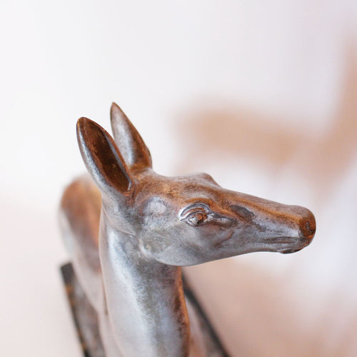 A pair of Art Deco silvered bronze deer by Irene Richard at Jeroen Markies