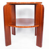 Round, two tiered solid pine centre/coffee table with striped mahogany veneer at Jeroen Markies