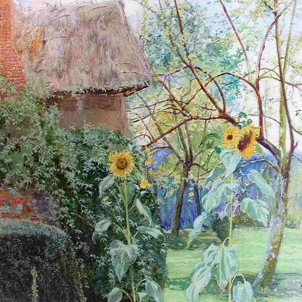 John George Sowerby Cottage Garden oil on canvas painting circa 1885