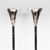 Art Deco uplighter floor lamps with brown bakelite stems at Jeroen Markies