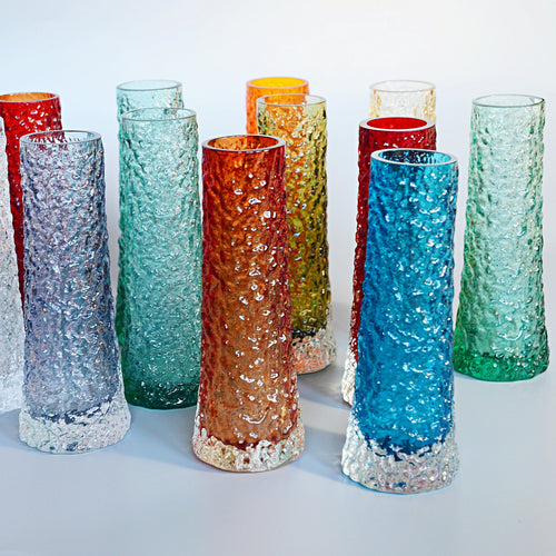 Collection of Twelve Textured 'Chimney' Bark Vases