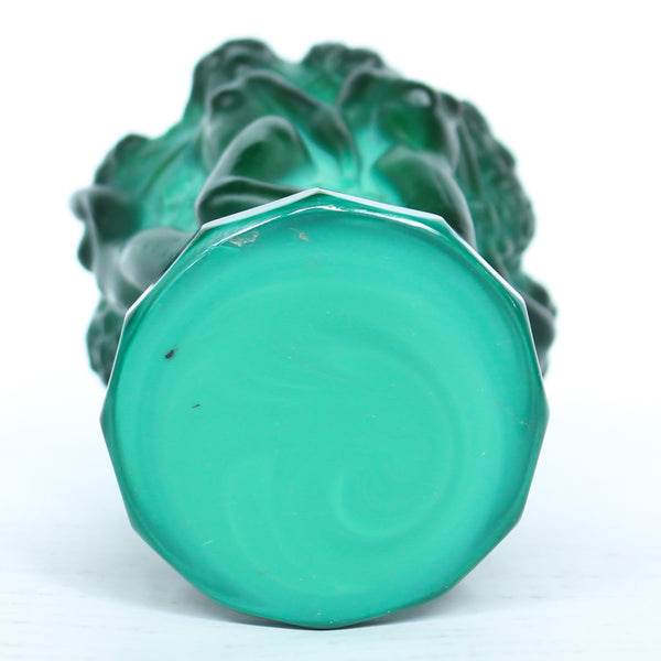 Bohemian malachite jade glass vase. Encircled raised relief of women collecting harvest at Jeroen Markies.