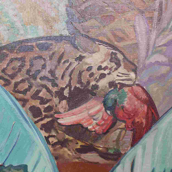 Vicente Puig Argentinian Art Deco painting of a jaguar circa 1930