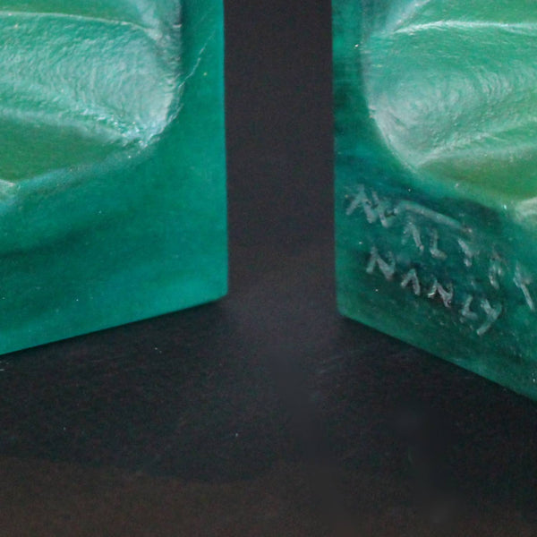 Amalric Walter pate de verre bookends by August Houillon circa 1930