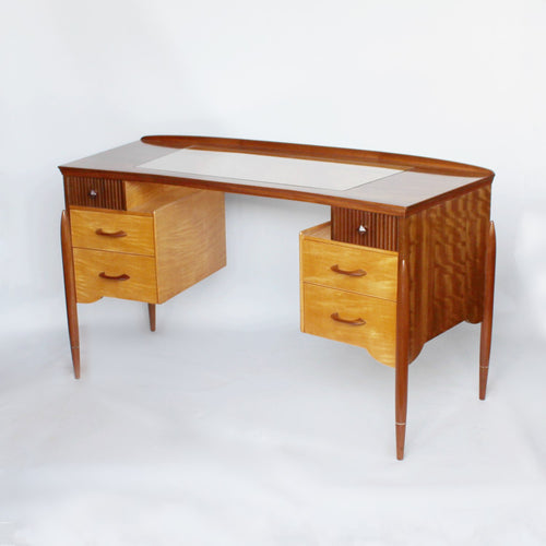Waring & Gillow 1950s glass topped curve desk at Jeroen Markies