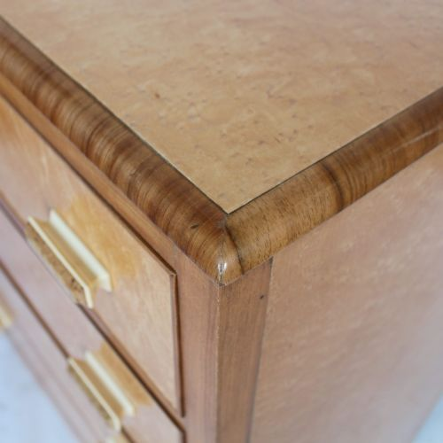 Art Deco chest of drawers in birdseye maple with walnut banding at Jeroen Markies
