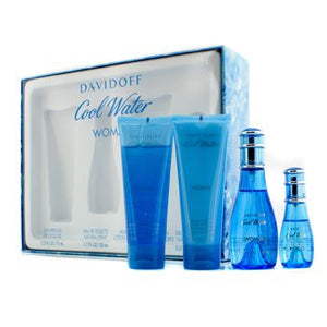 Davidoff Cool Water Gift Set -Eau De Toilette Spray  50ml + 15ml+ Body Lotion + Shower Gel - My Gift Box