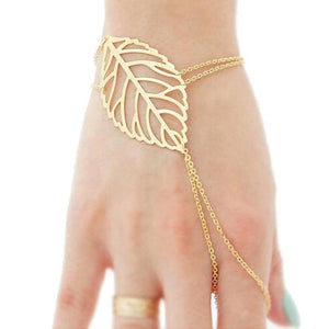 Hollow leaves Finger Bangle Slave Chain Bracelet - My Gift Box