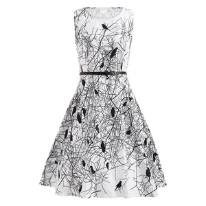 Round Collar Sleeveless Bird Print Belt Dress - My Gift Box