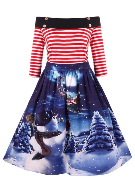 Snowman Print Off The Shoulder Dress - My Gift Box