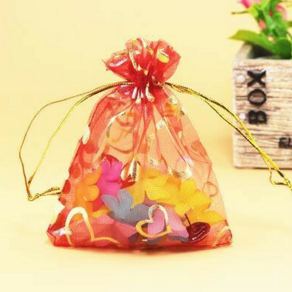 Organza Jewelry Bags Red Love Heart 9X12cm - My Gift Box