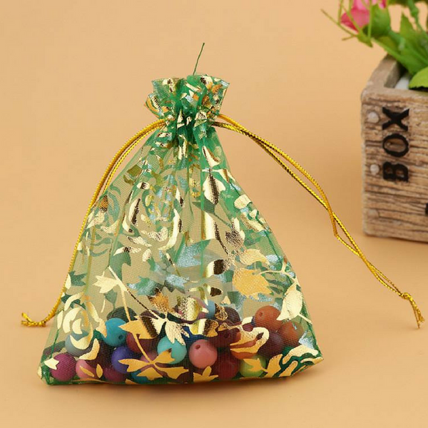 Organza Jewelry Pouch Bags Green Grass 9X12cm - My Gift Box