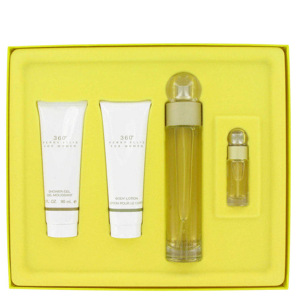 Perry Ellis 360 Gift Set -  Eau De Toilette Spray + Shower Gel + Body Lotion + Mini EDT Spray - My Gift Box