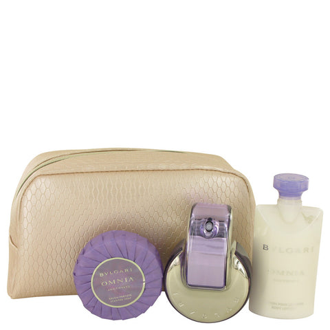 Bvlgari Omnia Amethyste Gift Set - Eau De Parfum Spray + Body Lotion + Scented Soap + Pouch - My Gift Box