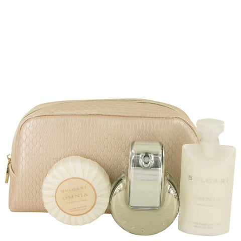 Bvlgari Omnia Crystalline Gift Set - Eau De Parfum Spray + Body Lotion + Scented Soap + Pouch - My Gift Box