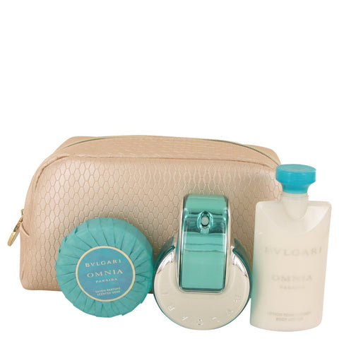 Bvlgari Omnia Paraiba Gift Set - Eau De Parfum Spray + Body Lotion + Scented Soap + Pouch - My Gift Box