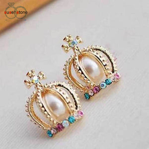 Lady Crown Pearl Rhinestone  Stud Earrings - My Gift Box