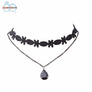 Fashion Black Chain Pendant Choker Bib Collar Necklace - My Gift Box