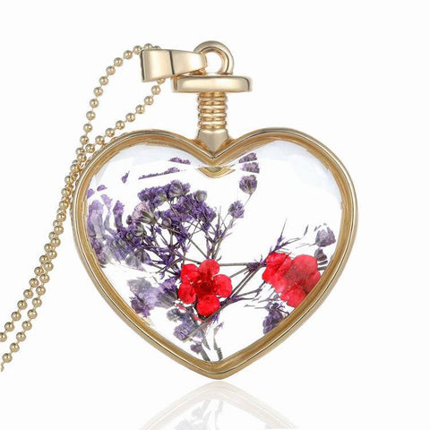 Dry Flower Heart Glass Wishing Bottle Pendant Necklace - My Gift Box