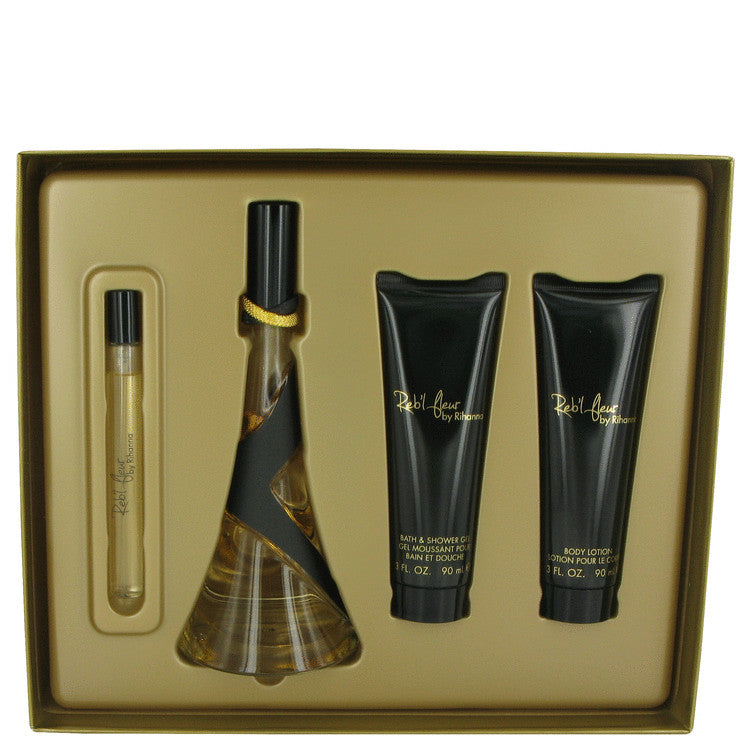 Rihanna Reb'l Fleur Gift Set - Eau De Parfum Spray + Body Lotion + Shower Gel + Mini EDP Spray - My Gift Box