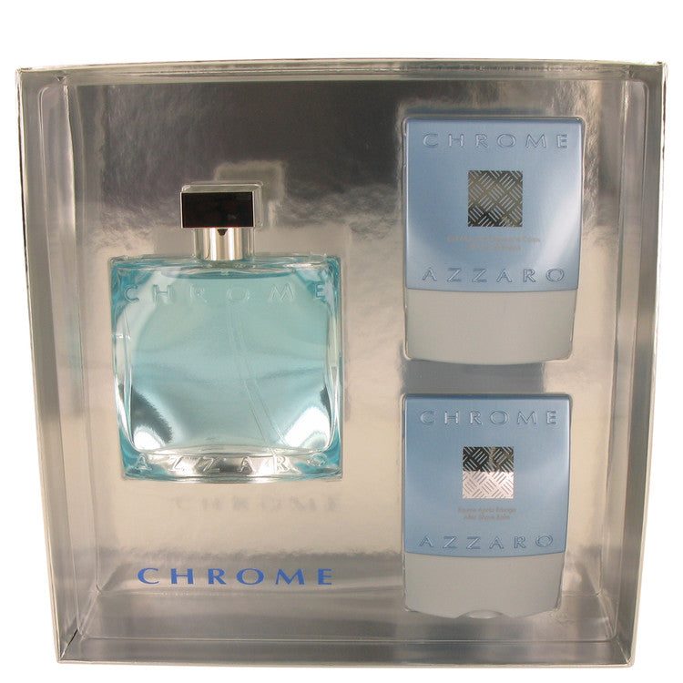 Azzaro  Chrome Gift Set - Eau DeToilette Spray + After Shave Balm + Shampoo - My Gift Box