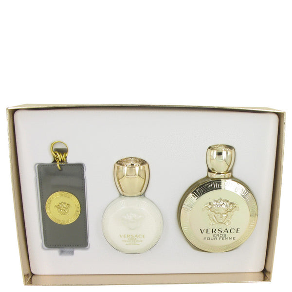 Versace Eros Gift Set - Eau De Parrfum Spray + Body Lotion + Gold Versace Luggage Tag - My Gift Box