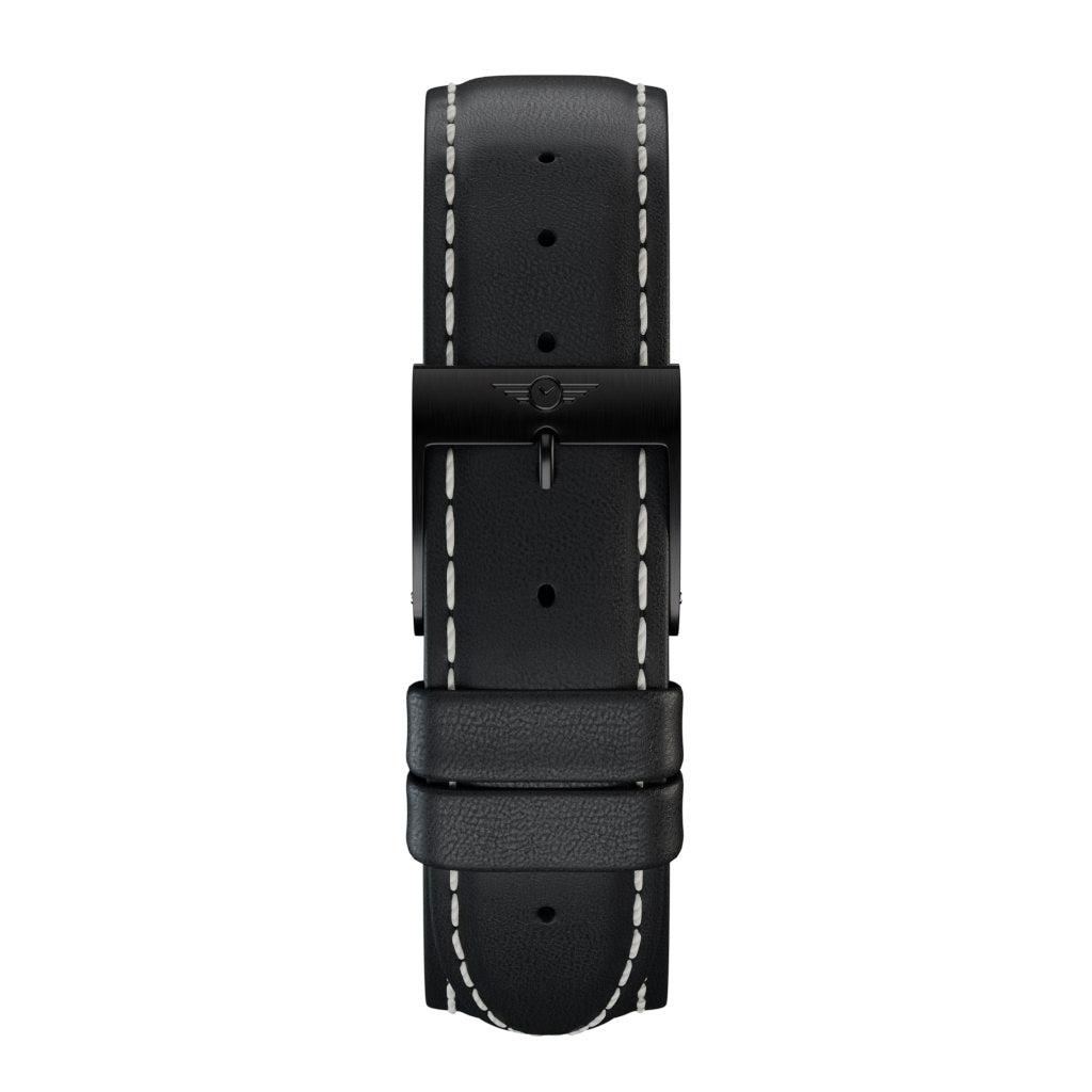 Black Leather - Black Brushed Strap