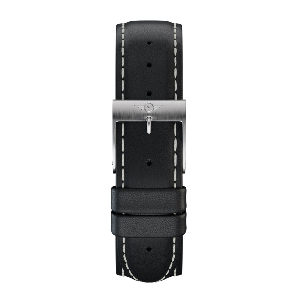 Black Leather - Silver Brushed Strap